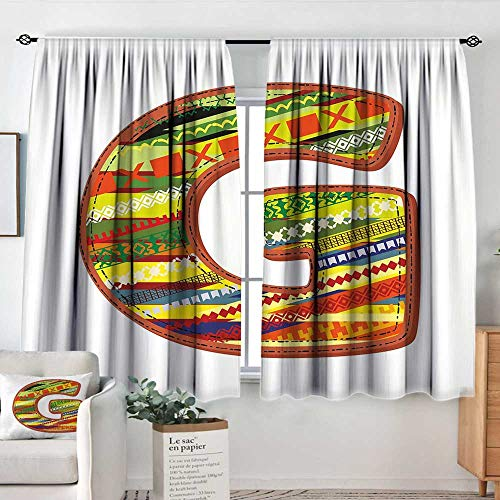 (Elliot Dorothy Pattern Curtains Letter G,G Letter Character Language System Learning College Surname Red Calligraphy Design,Multicolor,Rod Pocket Curtain Panels for Bedroom & Kitchen 55