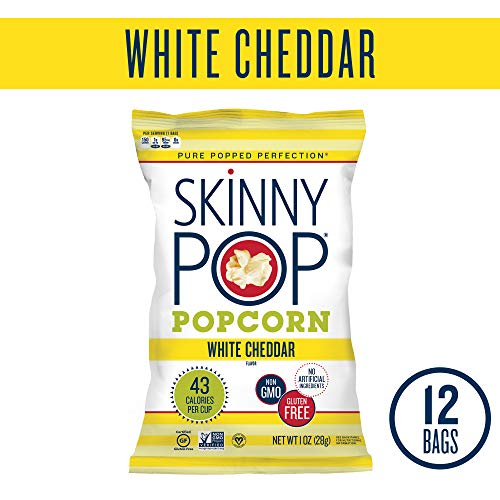 SkinnyPop Popcorn, Skinny Snack, White Cheddar, 1 Ounce (Pack of 12)