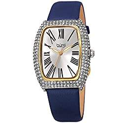 Accented Leather & Swarovski Crystal Rectangle Women's Watch