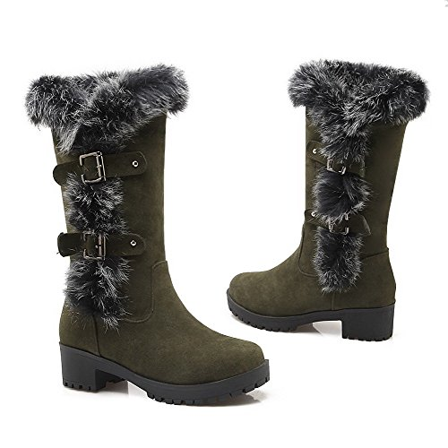 Allhqfashion Womens Smerigliato Pull On Round Closed Toe Kitten Tacchi Stivali Solidi Armygreen