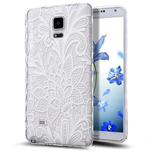 Galaxy Note 4 Case,NSSTAR Scratch-Proof Ultra Thin Crystal Clear Rubber Gel Transparent TPU Soft Silicone Bumper Case with Shockproof Protective Case for Samsung Galaxy Note 4 N910,White Lace Flower