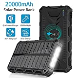 Solar Power Bank, 20000mAh External Battery Packs With QI Wireless Charger Portable Backup Power Supply LED Flashlights with SOS Mode, IP54 Rainproof for Outdoor Camping, Hiking, Fishing and Emergency Solar Battery Charger Kits (Black)