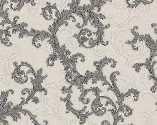 Versace Designer Damask Gray Off White Wallpaper Swirl Floral with Embossed Texture 27.56