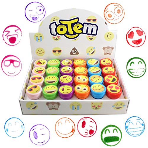 24 Emoji Craft Stampers - Bright Colors and Cool Emoji Designs - Cool Self-Inking Design Prevents Mess - Wont Dry Out Fast - Great for Birthday Party Favors, Easter Eggs, and Stocking Stuffers