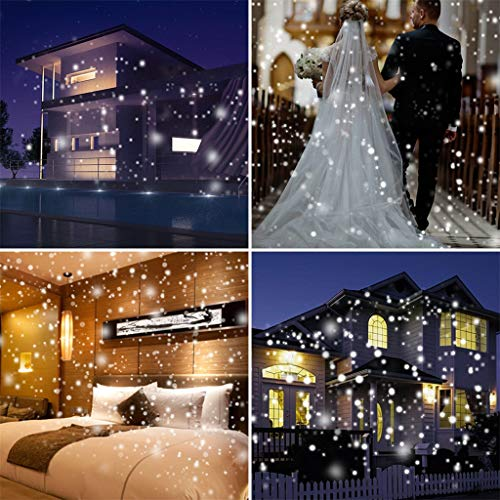 Gotian Waterproof Snow Flurries Landscape Spotlight White Snowflakes with Wireless Remo Snowing Light Create Realistic Snow Scenes for Christmas Party Wedding Holiday Garden