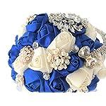 Abbie-Home-Romantic-Bride-Wedding-Holding-Bouquet-Roses-Pearl-Rhinestone-Ribbon-Dcor-BlueIvory