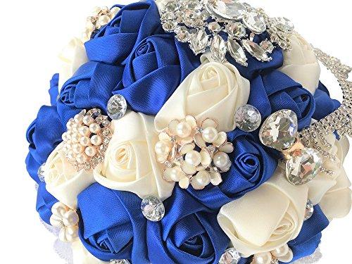 Abbie Home Romantic Bride Wedding Holding Bouquet Roses-Pearl Rhinestone Ribbon Décor (Royal Blue + Ivory)