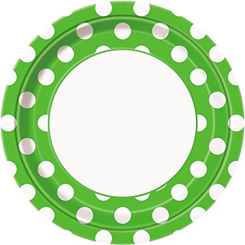 Lime Green Polka Dot Paper Plates, 8ct