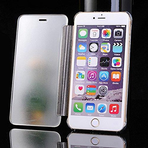 Pinzhi Espejo de Lujo Que Platea La Caja Clara del Teléfono del Tirón de la Visión Clar Para iPhone 7Plus iPhone 8Plus(Plata) Plata