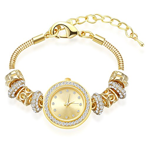 MANBARA Gold Tone Charm Bracelet Wrist Watches for Women Party Jewelry (600BE Gold Bracelet Watch) from MANBARA