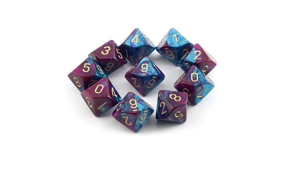 Chessex Dice Sets: Gemini Purple & Teal with Gold - Ten Sided Die d10 Set (10)