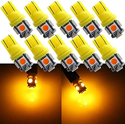 Grandview 10pcs Super Bright Amber 194 168 W5W 501 Wedge T10 Bulbs with 5-5050-SMD Chipset Replacement for Car Interior Dome Map Door Dashboard Trunk Courtesy License Plate Lights DC 12V