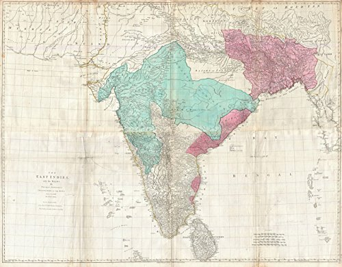 Historical 1768 Jeffreys Wall Map of India and Ceylon Fine Art Print Antique Vintage