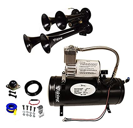 Amazon.com: Viking Horns V3305/4008B Loud 149 Decibels 150 PSI 1.5 Gallon, 4 Black Trumpets Train Air Horn Kit: Automotive