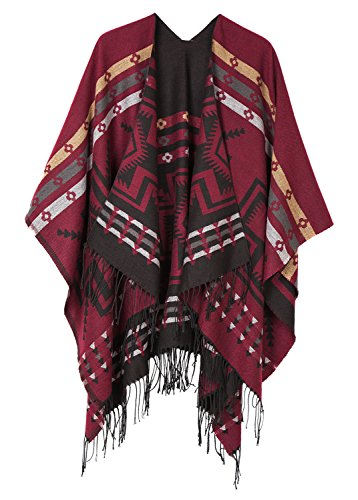Urban CoCo Women's Printed Tassel Open front Poncho Cape Cardigan Wrap Shawl (Series 1-Red) (American Indian Black Jewelry)