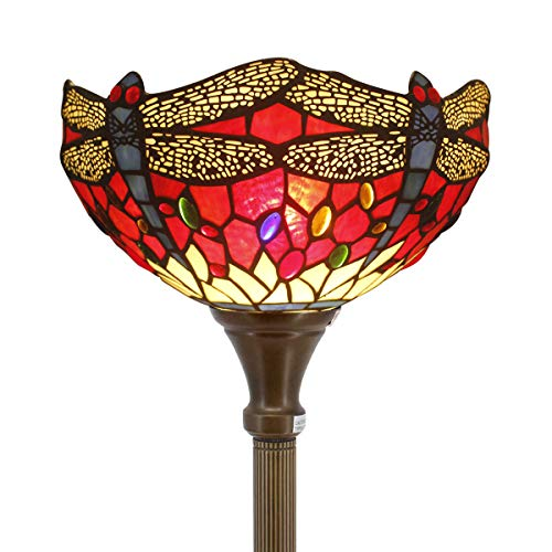 Tiffany Style Torchiere Light Floor Standing Lamp Wide 12 Tall 66 Inch Red Cloud Stained Glass Crystal Bead Dragonfly Lampshade for Living Room Bedroom Antique Table Set S328 WERFACTORY ()