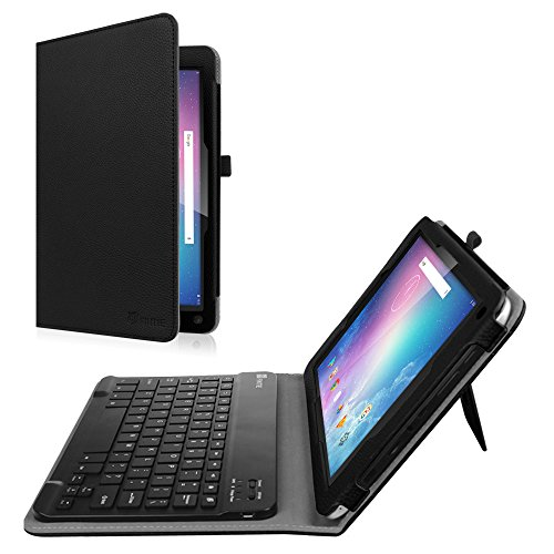 Fintie Keyboard Case for Dragon Touch V10 10-Inch Android Tablet, Premium PU Leather Folio Stand Cover with Removable Wireless Bluetooth Keyboard, Black