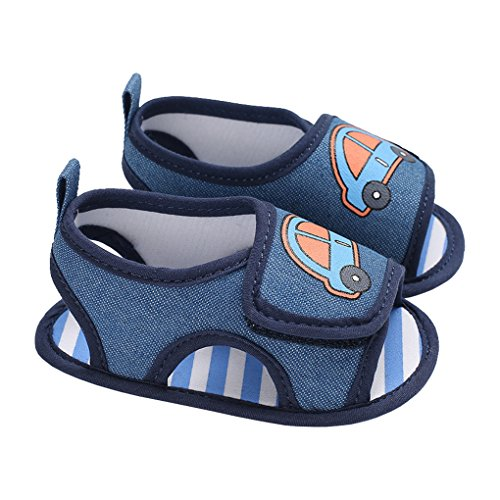 Baby Boy Canvas Car Open Toe Slip On Sandals Summer Beach Anti-Slip Walking Shoe Blue Size M