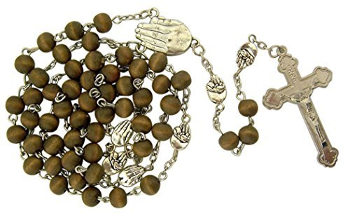 Crucifix Life (Wooden Prayer Bead Let Me Live Pro-Life Rosary with Fetus Centerpiece, 19 1/2 Inch)
