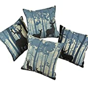 Amazon Lightning Deal 95% claimed: Set of 4 Euphoria CaliTime Cushion Covers Throw Pillow Shells, 18 X 18 Inches, Wild Deer in Forest Combo Set