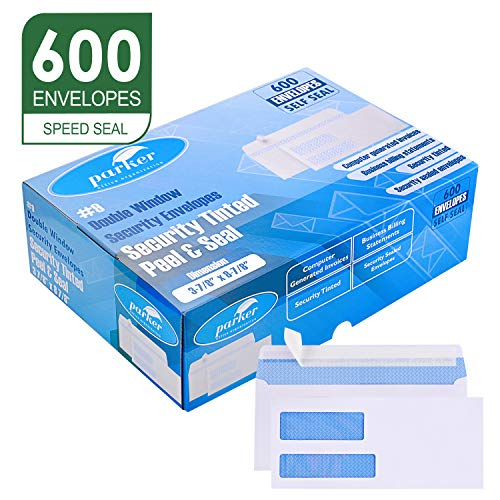 "Parker #9 Double Window SELF SEAL Security Envelopes - 600 Per Box - Used for QuickBooks Invoices, Business Correspondence and Legal Documents - Security Tinted - Peel & Seal - 3 7/8"" x 8 7/8"" - 24 LB"