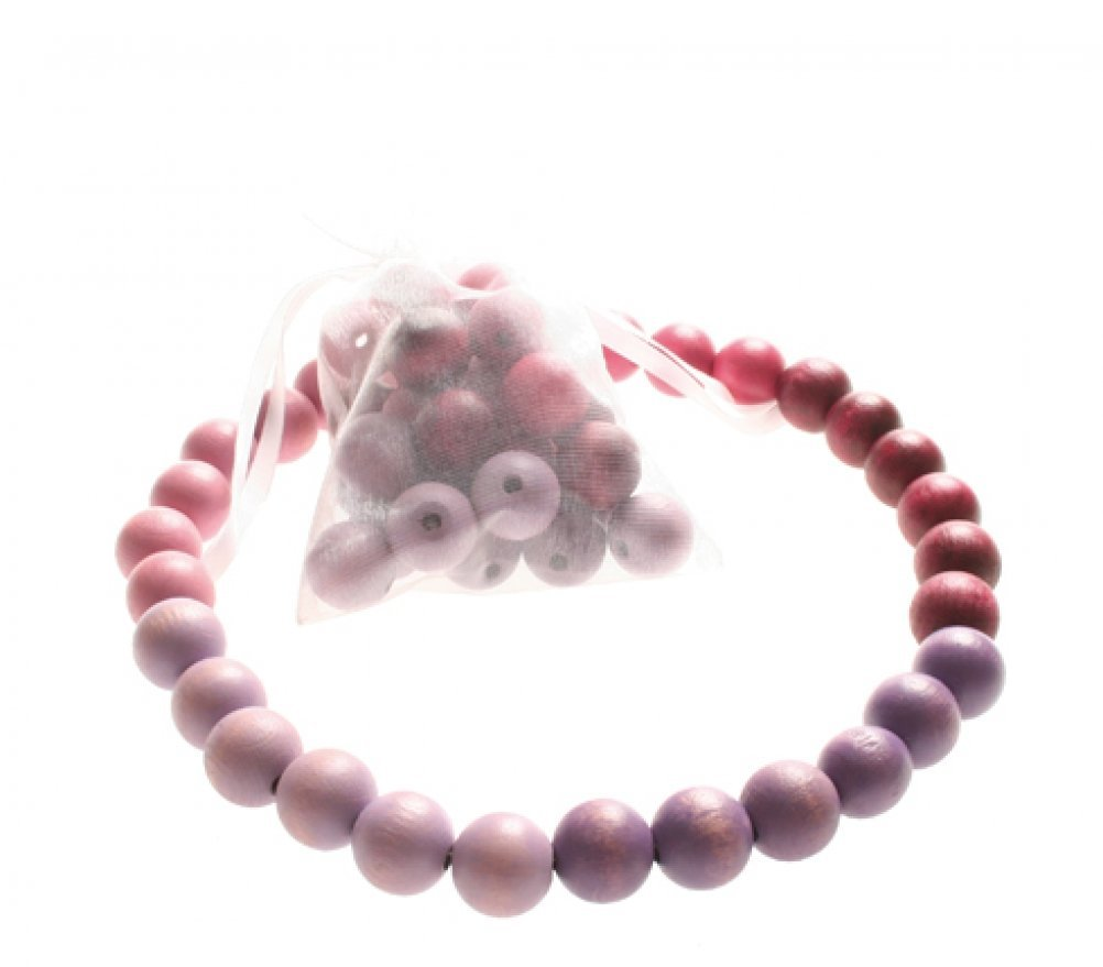 Grimm's Colorful Wooden Beads Necklace for Baby & Child, 30 Large Purple-Pink Beads and Discs: 20 mm diameter with Elastic string