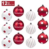 KI Store Christmas Balls Ornament 12ct Shatterproof 3.15-Inch Tree Ball Red and White Polka Dots for Xmas Trees, Parties, and Holiday Decoration
