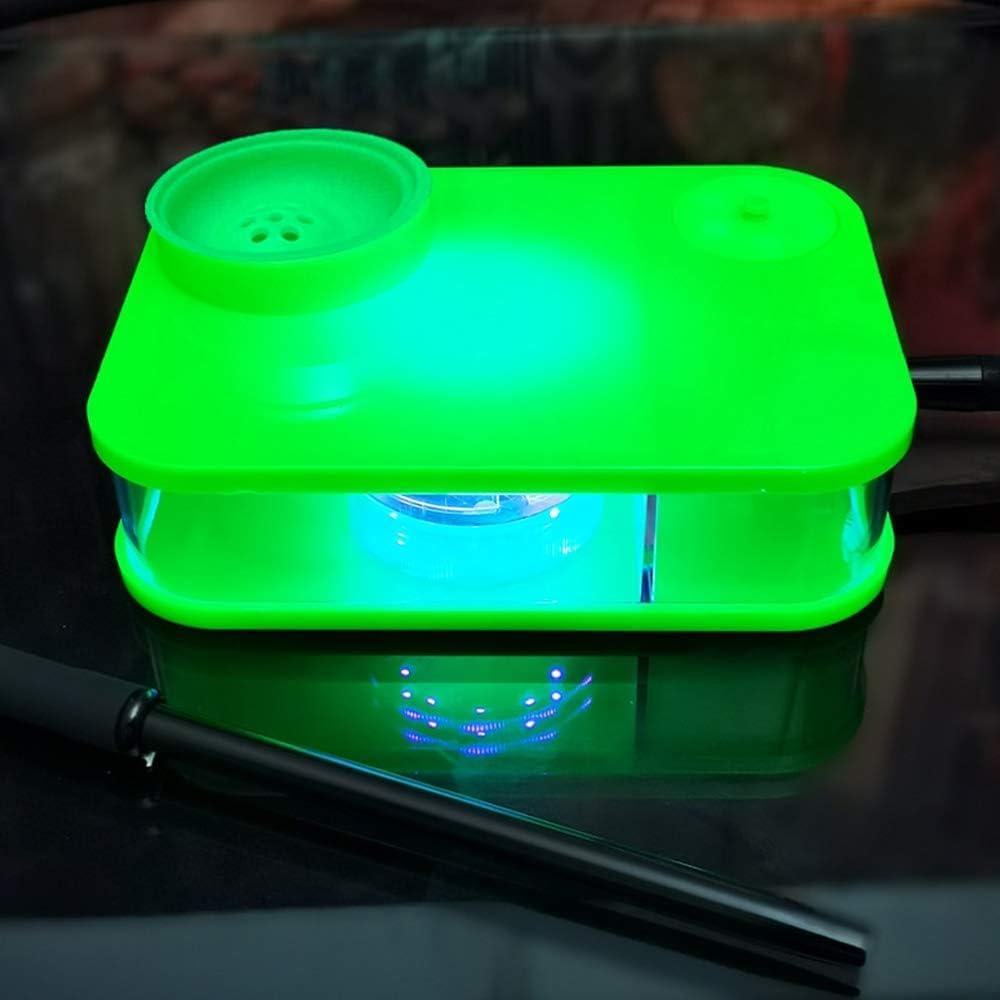 SSOLEREIT Acrílico Caja de Color Shisha Bar KTV Equipado con una lámpara pote y la Pipa de Agua portátil (Color : Verde)