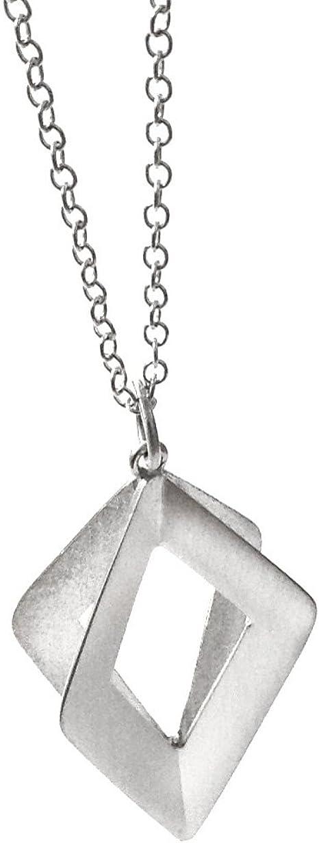 Quadrilateral Kite shape Handmade in Peru Polished Brushed Satin finish sides Large Geo Sterling Silver 925 Pendant Necklace 35 long