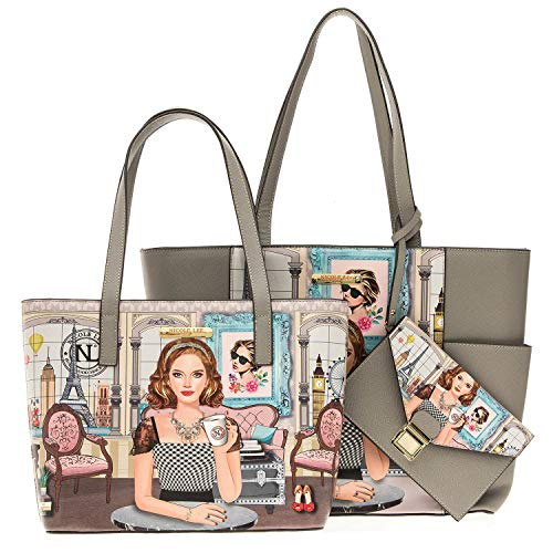 3 Piece Set Shopper Bag With A Large, Medium Handbag And Wristlet (Ara Loves Morning Coffee)