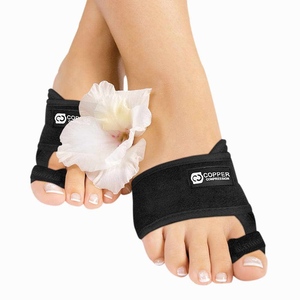 Copper Compression Bunion Corrector Toe Splints. Bunion Relief Brace and Toe Straightener. Big Toe and Hammer Toes Splint for Men and Women. 1 Pair. Support for Bunions, Hallux Valgus Treatment, Feet