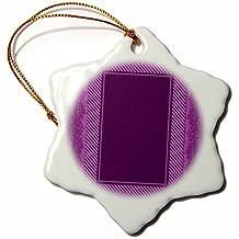 orn_33407_1 Jaclinart Stripes Fashion Ribbon - Eggplant purple striped and damask ribbon frame - Ornaments - 3 inch Snowflake Porcelain Ornament