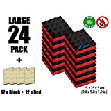 Arrowzoom New 24 Pack of Red & Black (25 X 25 X 5cm) Soundproofing Pyramid Acoustic Foam Studio Absorbing Tiles Pads Wall Panels (RED&BLACK)