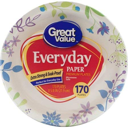 """Pack of 3 Everyday Premium Paper Plates, 8 5/8"""", 170 Count Per Pack - Extra-Strong And Soak Proof, Microwave Safe, Ideal For Everyday Use Or Special Occasions"""