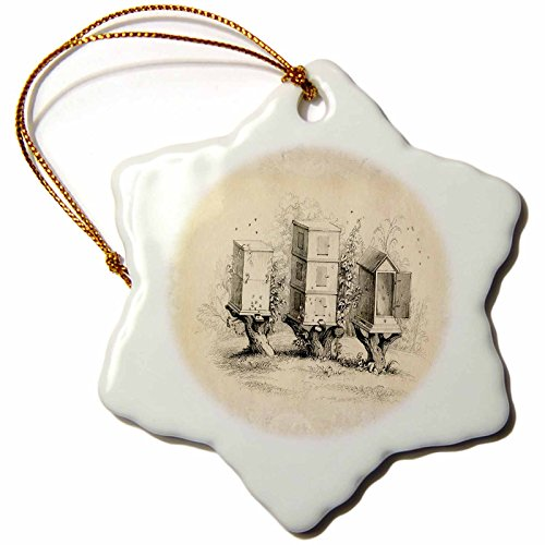 3dRose orn_62109_1 3 Wooden Beehives Snowflake Porcelain Ornament, fun bee ornaments for christmas, 3-Inch