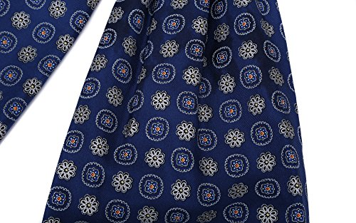 Prettystern Men's ascot paisley cravat twill silk scarf and choice ply two Tie color 100 Blue silk pattern qqwXHdrx