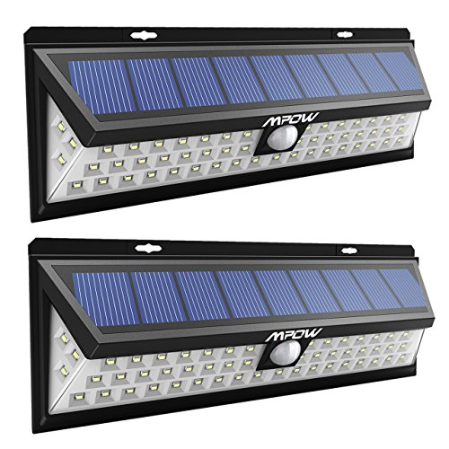 Mpow 54 LED Solar Lights Outdoor, 270 Degree Wide Angle Motion Sensor Solar Lights, Waterproof Security Lights for Patio, Garden, Path, Yard, Driveway Lighting - 2 Pack - 270 Degree Motion Detector