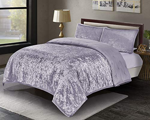 Shining Velvet Quilt Set, Reversible Satin Quilted Coverlet Set Bedspread, Elegant Embroidered Bedding Set, Purple, Queen, 88x92 ()