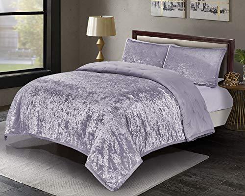 Wonder-Home 3 Pieces Shining Velvet Quilt Set, Reversible Satin Quilted Coverlet Set Bedspread, Elegant Embroidered Bedding Set, Purple, Queen, 88x92 -