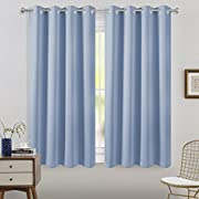 FLOWEROOM Room Darkening Blackout curtains Thermal Insulated Draperies with Grommet for Living Room, Light Blue, 52 x 63 inch, 2 Panels