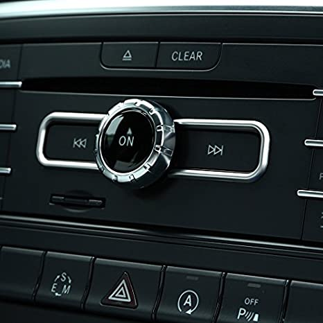 L/&U Red Metal Modified Center Console Multimedia-Steuertastenknopf Borte Abdeckung Dekoration f/ür Mercedes Benz A B E GLK GLA CLA GLE ML GL-Klasse
