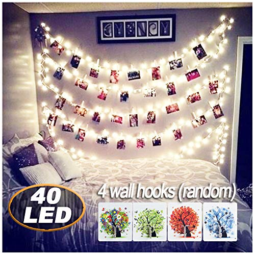 o Clips String Lights,18ft USB Powered , Fairy String Lights for Hanging Photos Pictures Cards and Memos, Ideal gift for Bedroom Decoration (Warm White) ()