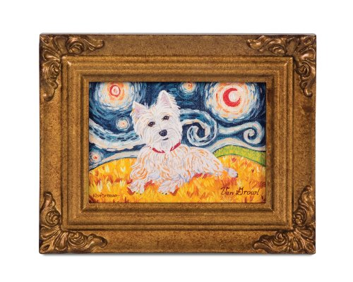Pavilion Gift Company 12060 Paw Palettes Framed Canvas Art, 7-1/2 by 6-Inch, West Highland Terrier Van - Magnet Highland Terrier West