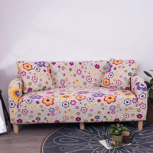 Living Room Sofa Cover Modern Plants Floral Printed Elastic Spandex Furniture Couch Cover All-Inclusive Predector Slipcovers   1, Three-seaters