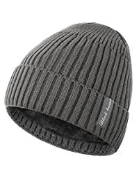 Novawo Winter Fleece Lined Beanie Hat Thick Skull Cap