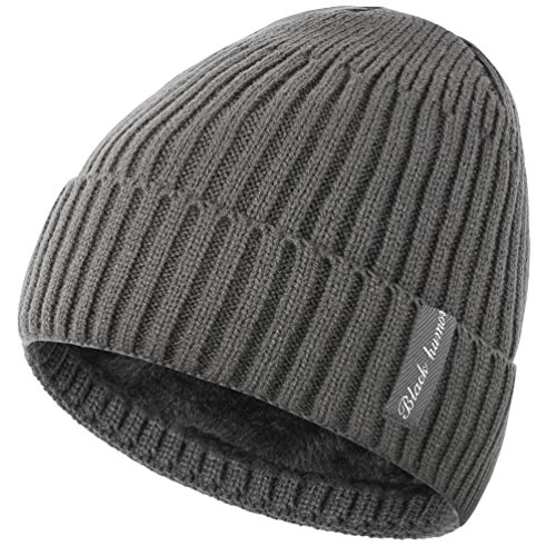 Novawo Winter Fleece Lined Beanie Hat Thick Skull Cap, Gray Without Neck (Beanie Stocking Winter Hat)