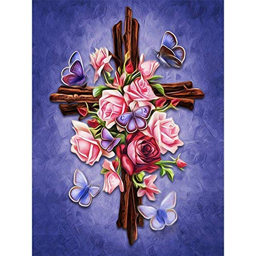 (Full Drill Diamond Painting Cross by Number Kits, 5D DIY Diamond Embroidery Crystal Rhinestone Cross Stitch Mosaic Paintings Arts Craft for Home Wall Decor(12X16inch/30X40CM))
