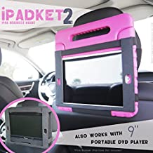 """iPADKET2 PREMIUM CAR HEADREST MOUNT for iPad or 9"""" swivel & flip DVD player Works on Automobile or Airplane Tray Table WITH or WITHOUT case for all iPad models (not 12.9"""") iPad Pro & Air iPADKET 2"""