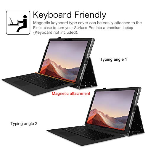 Fintie Case for Surface Pro 7 / Pro 6 - Premium Vegan Leather Slim Fit Folio Cover with Stylus Holder, Compatible with Microsoft Surface Pro 5 / Pro 4 / Pro 3 and Type Cover Keyboard (Constellation)