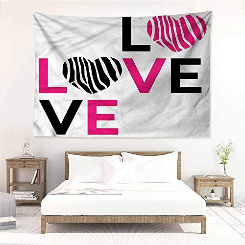 (Sunnyhome Tapestry Wall Hanging,Pink Zebra I Love You Hearts,Bedspread Yoga Mat Blanket,W23x19L)